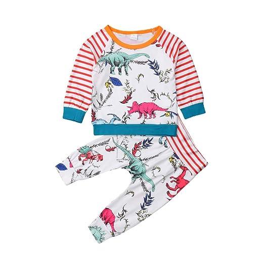887fd05f7 Amazon.com  Baby Boy Girl Dinosaur T-Shirt Dinosaur Pant Stripe ...