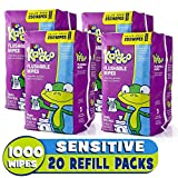 Flushable Baby Wipes for Kids, Sensitive by Kandoo, Hypoallergenic Potty Training Wet Cleansing Cloths Refills, Unscented, 250 Count per Pack, Pack of 4: more info