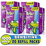 Flushable Baby Wipes for Kids, Sensitive by Kandoo, Hypoallergenic Potty Training Wet Cleansing Cloths Refills, Unscented, 250 Count per Pack, Pack of 4