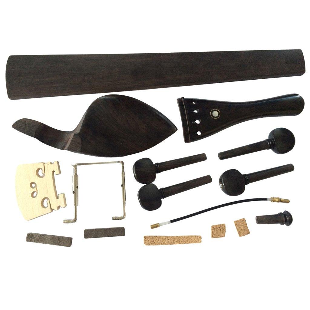MonkeyJack 4/4 Violin Parts Chinrest+Pegs+Tailpiece+Bridge+Endpin+Tailgut+Clamp Fingerboard+Nut