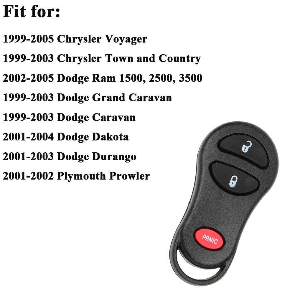 Car Key Fob Keyless Entry Remote 3 Button GQ43VT17T Replacement for 1999-2003 Chrysler Town and Country 04686481 1999-2003 Dodge Caravan 1999-2003 Dodge Grand Caravan
