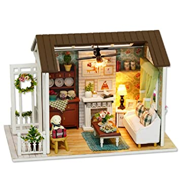 Flever Dollhouse Miniature DIY House Kit Creative Room with Furniture for  Romantic Gift (Happy Time)