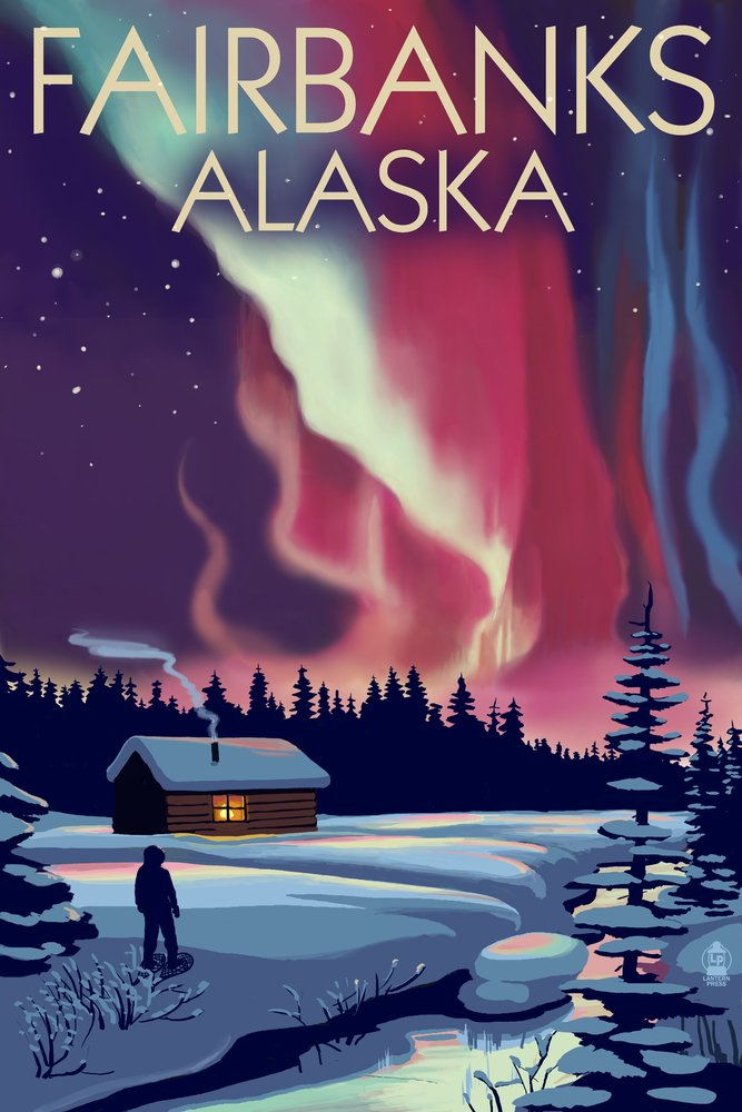 Fairbanks, AlaskaNorthern Lights and Cabin (12x18 Art Print, Wall Decor Travel Poster) by Lantern Press B00N5CENRG 12 x 18 Art Print12 x 18 Art Print