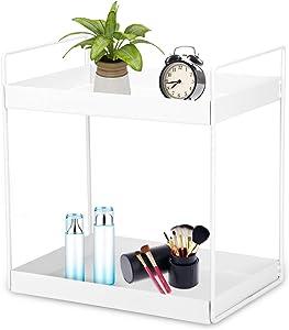 2-Tier Metal Desktop Storage Shelves, Makeup Cosmetics Display Rack for Bedroom, Bathroom, Spice Jars Bottle Holder Rack for Kitchen Countertop, Organizer Stand for Office & Home,White
