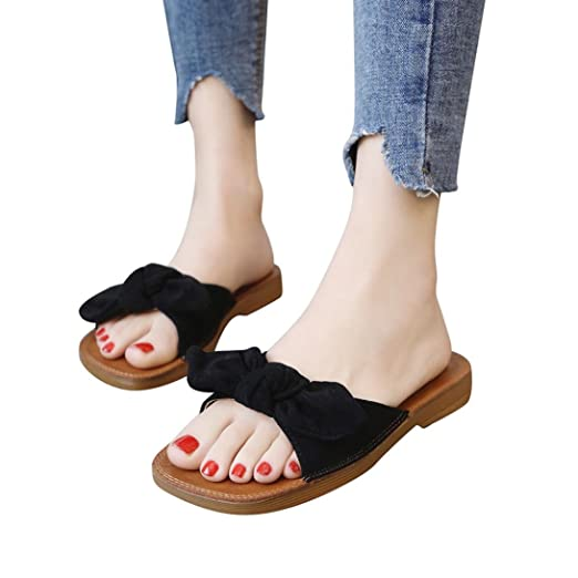 439634cf75f4 BSGSH Women s Flip-Flop Casual Knot Bow Slip-on Cute Low Wedge Sandals  Casual