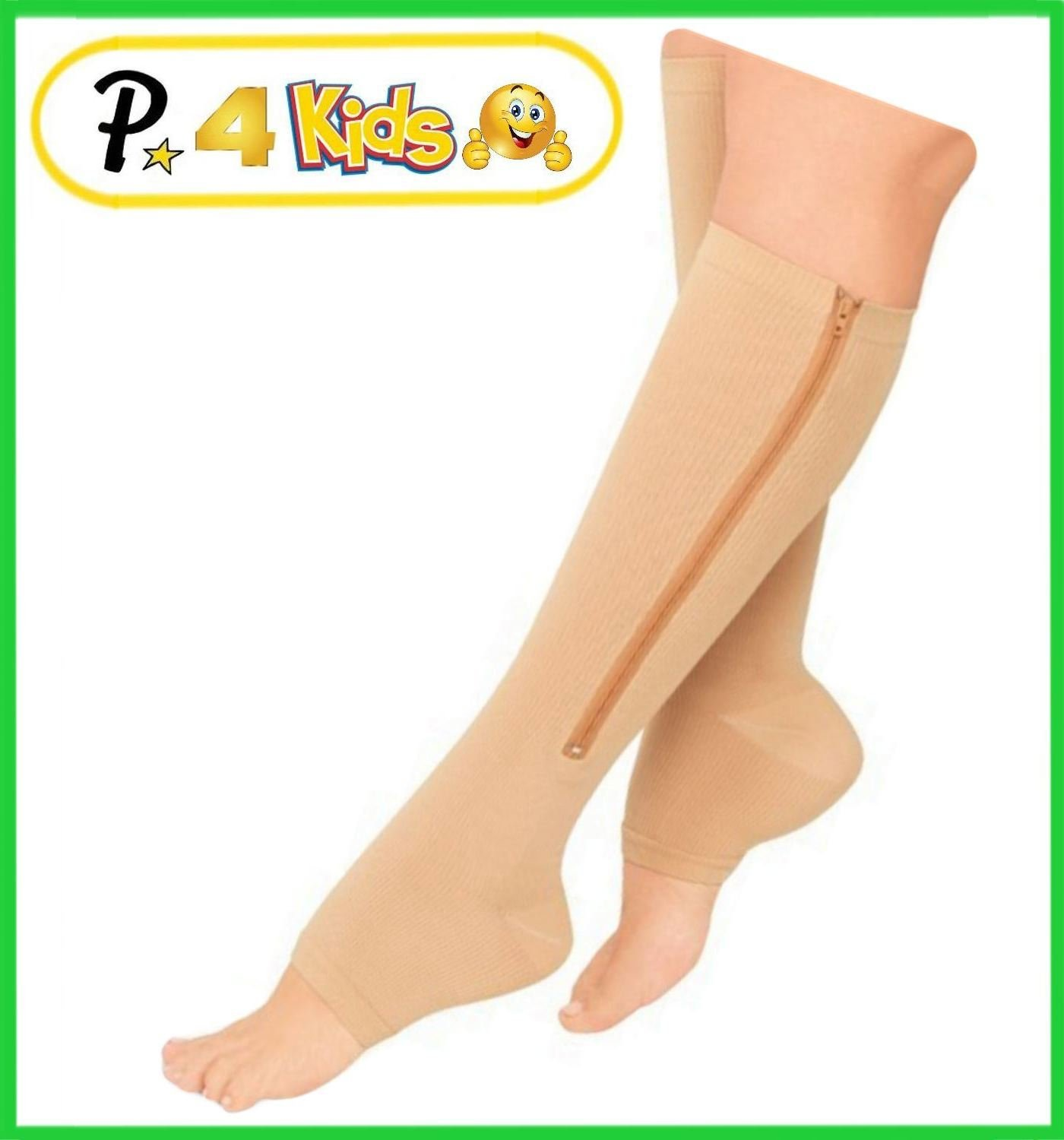Presadee Kid's Edition Easy Zipper Compression Socks Knee Length Energize Leg Circulation Performance Fatigue Support (L/XL, Beige)