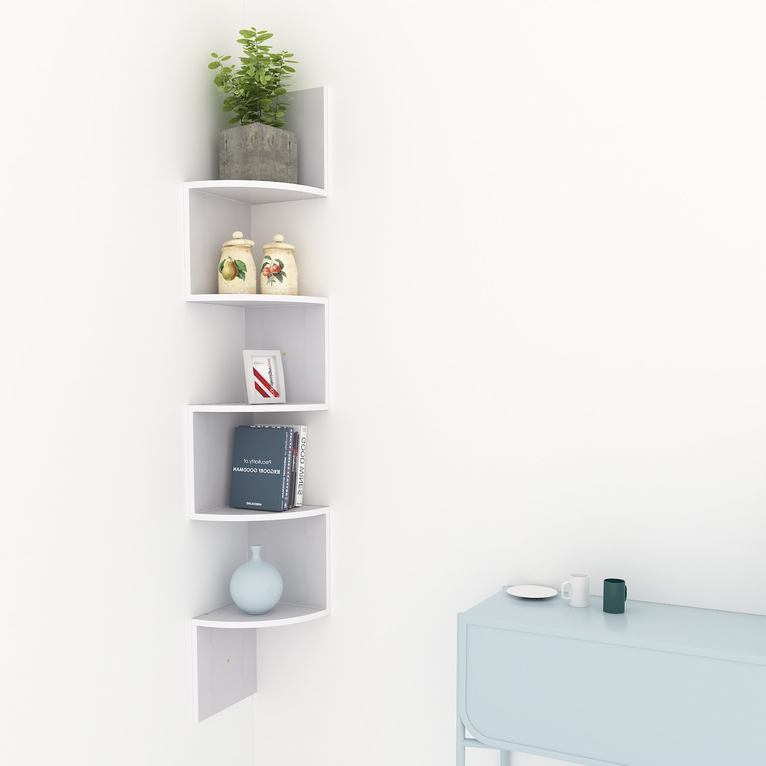 Homevol Corner Shelf, 5 Tier Wood Wall Mount Corner Shelves/Bookshelf/Bookcase,Light Grey