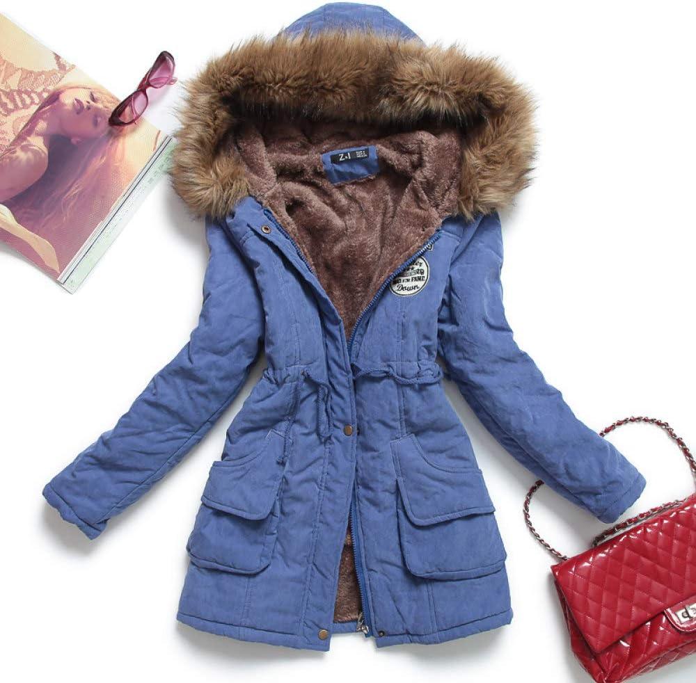 DPKDBN Doudoune, épais Manteau Chaud à Capuche Mujer Coton Manteau matelassé Long Paragraphe Plus la Taille 3XL Veste Mince Femme Bleu