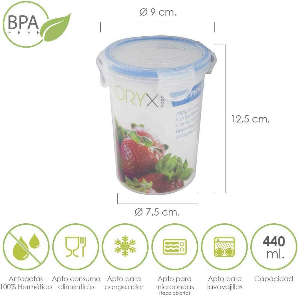 ORYX 5025021 Recipiente Hermetico Plastico Redondo 440 ml. Ø 9.5x12.5 (Alt.) cm, Transparente