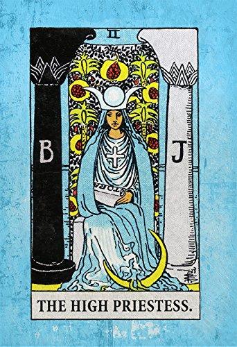 Tarot Print High Priestess Retro Illustration Art Rider Print Vintage Giclee on Cotton Canvas or Paper Canvas Poster Wall Decor