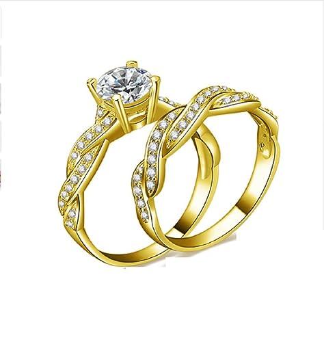 GOWE 10 K Sólido Amarillo Oro Anillos de boda conjuntos 1 ct Diamante simulado lujo trenzado
