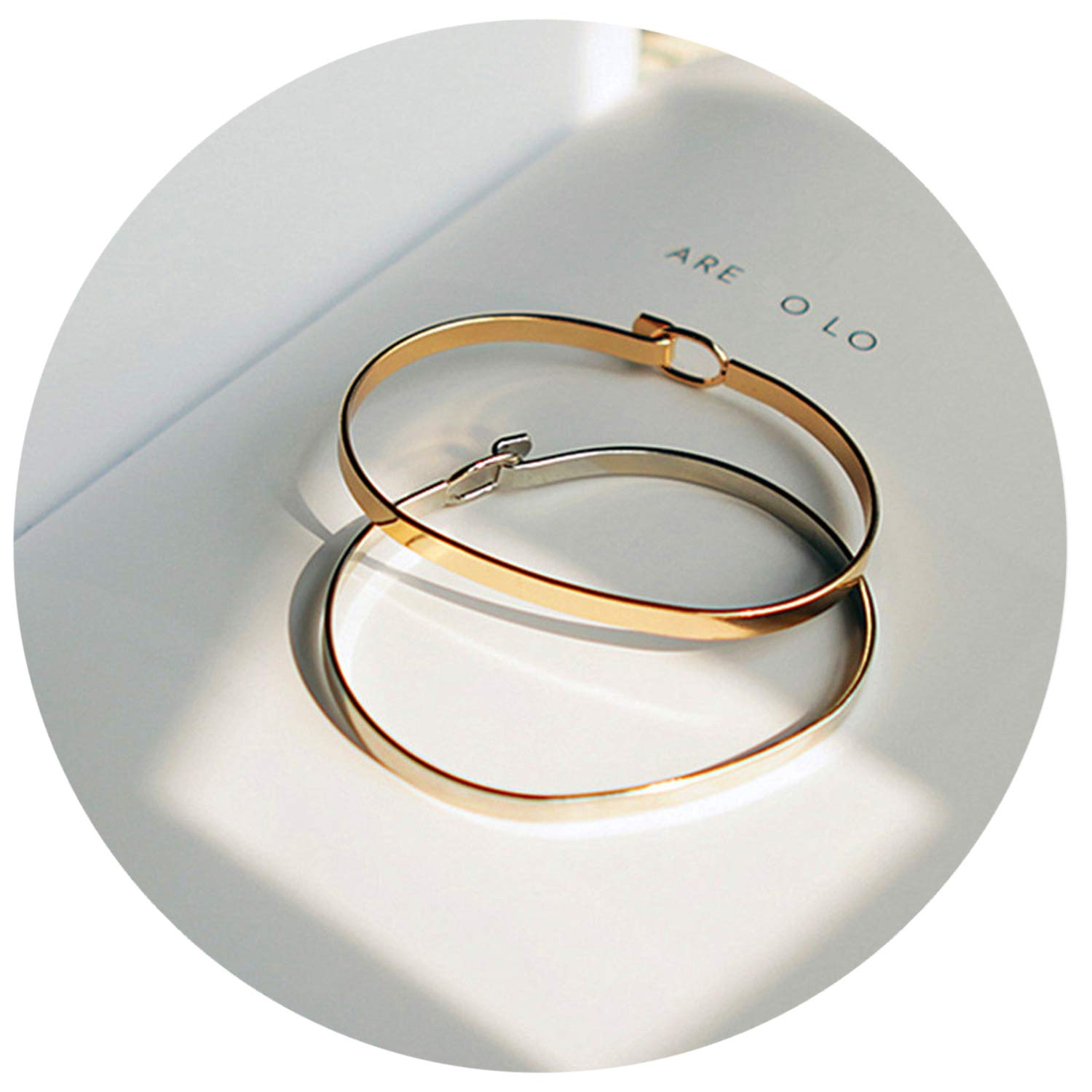 Minimalist personality contracted fine gold bracelet Women's beautiful bracelets,Gold-color