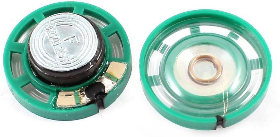 Vaorwne 0.25W 32 Ohm Kunststoffgehaeuse 27mm Durchmesser Magnet Lautsprecher 4Pcs Gruen+Silver