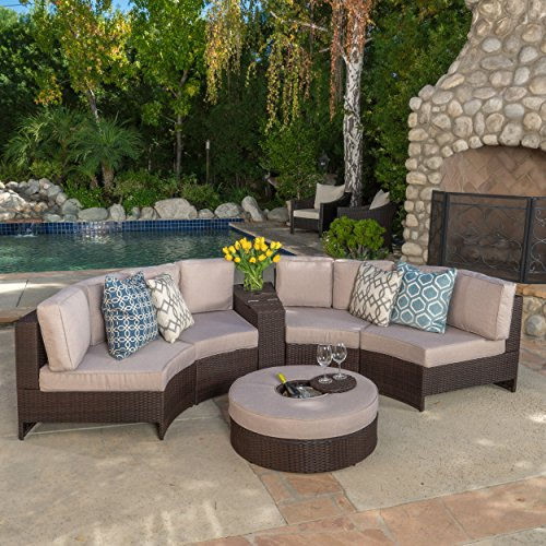 Riviera Portofino Outdoor Patio Furniture Wicker 6 Piece Semicircular Sectional Sofa Seating Set w/ Waterproof Cushions (Ice Bucket Ottoman, Beige) - 6 Piece Seating