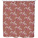 Uneekee Rocking Orient Brown Shower Curtain: Large Waterproof Luxurious Bathroom Design Woven Fabric