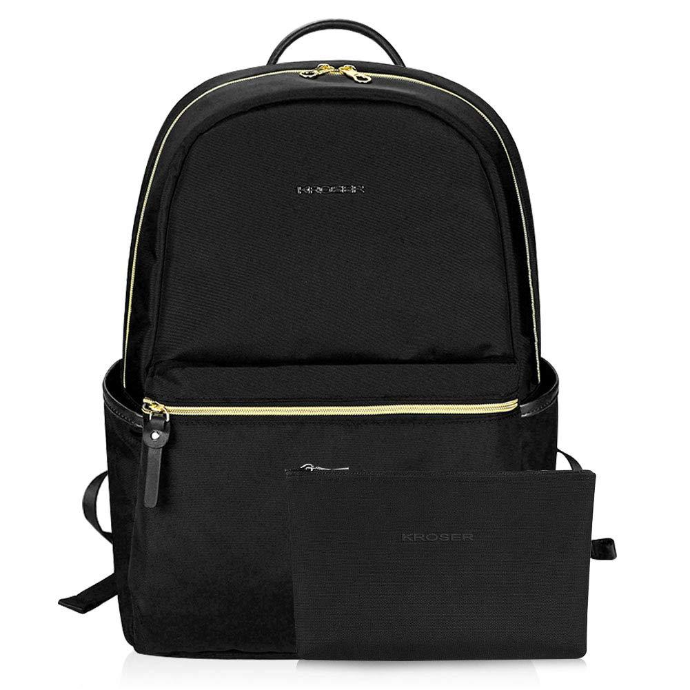 KROSER Laptop Backpack 15.6'' Upgraded Water-Repellent Fashion School Back pack-Black by KROSER