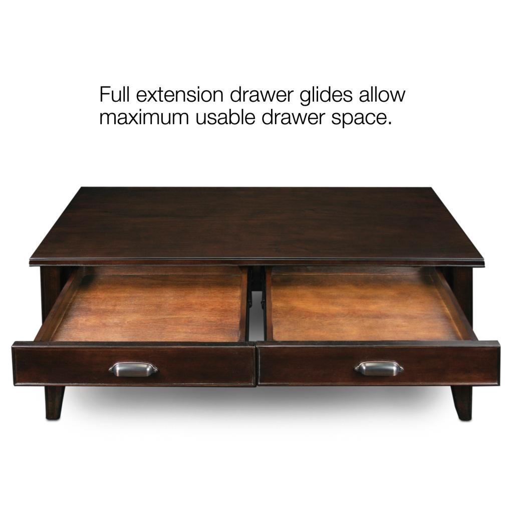 Leick laurent 2 drawer coffee table cherry for Coffee tables amazon