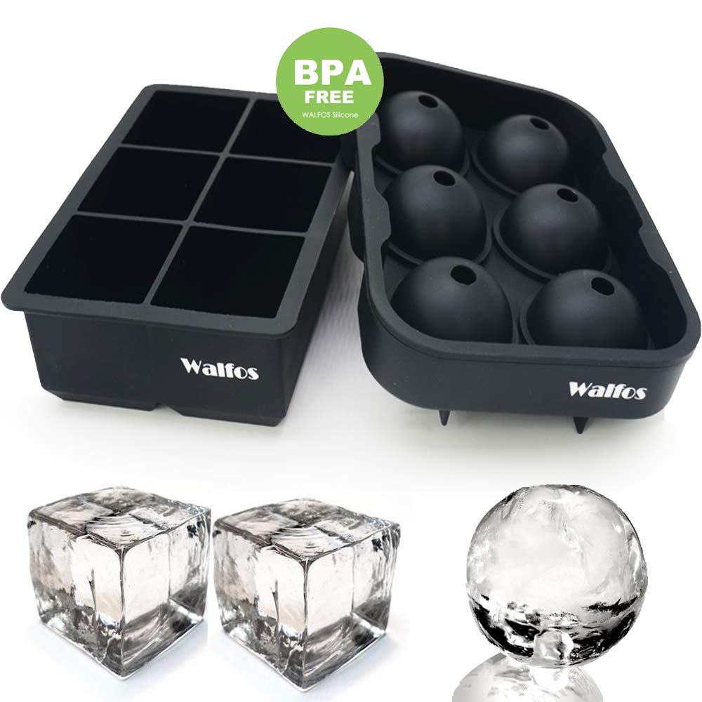 WALFOS 100% Food Grade Silicone Ice Cube Tray Combo Molds - Set of 2, Sphere/Round Ice Ball Maker & Large Square Molds, BPA Free and Fairly Easy to Remove from Mold