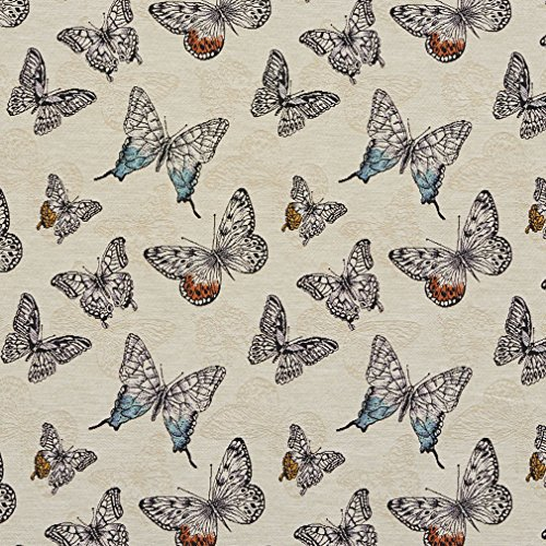 Beige Blue Orange Contemporary Modern Print Linen Upholstery Fabric with Butterflies by the yard