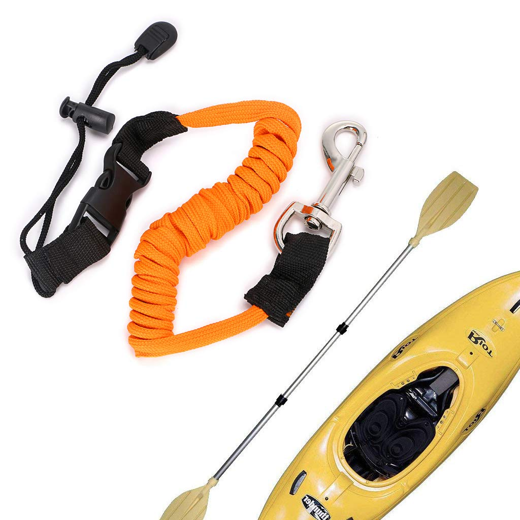 Hipiwe Flexible Kayak Paddle Board Leashes,Stretchable Boat Fishing Safety Rod Paddle Leash Surfboard Rope Lanyard with Hook for Kayaking Canoe SUP Board Paddles,Pack of 2