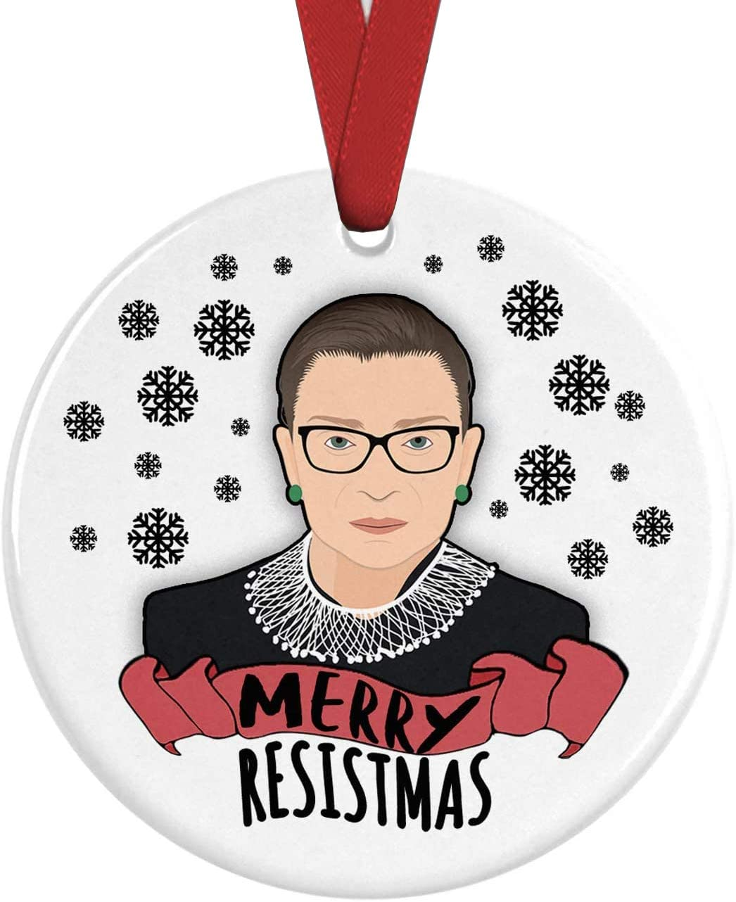 Ruth Bader Ginsburg Christmas Tree Ornament Merry Resistmas Notorious RBG Supreme Court Feminist Feminism Dissent