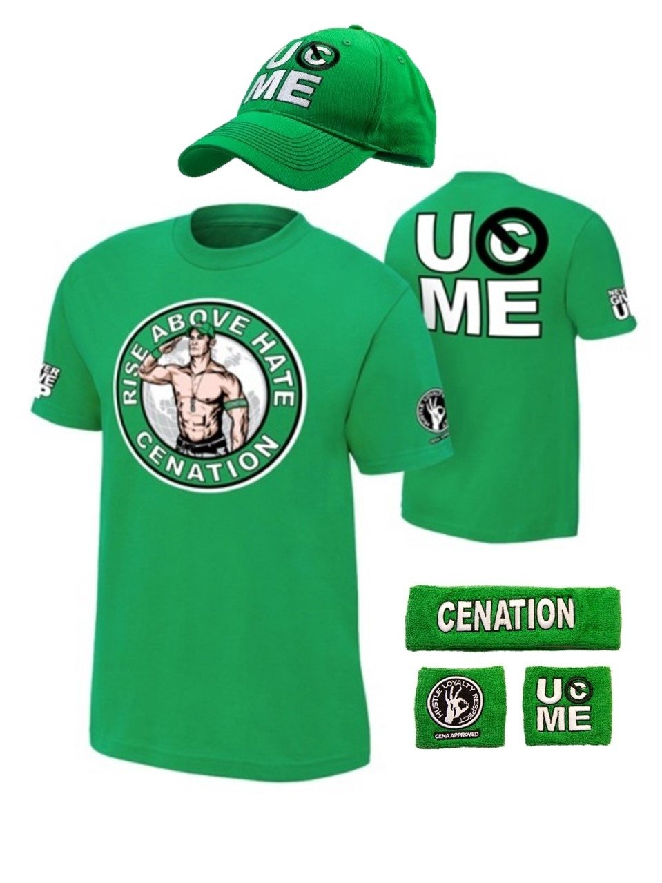 John Cena Never Give Up WWE Kids Boys Youth Costume-Green-S (6-7)