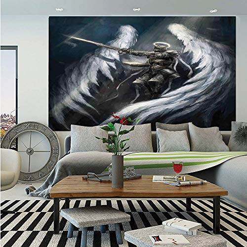 Majestic Angel Fish - Fantasy House Decor Removable Wall Mural,Angel Knight with Majestic Wings Spiritual Superior Power Imagination Art Print,Self-Adhesive Large Wallpaper for Home Decor 66x96 inches,Silver White