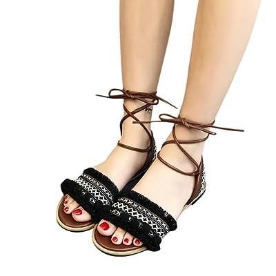 AIMTOPPY HOT Sale, Women Fringe Boho Cross Strap Flat Roman Shoes Sandals Beach Shoes (US:5.5, Black)
