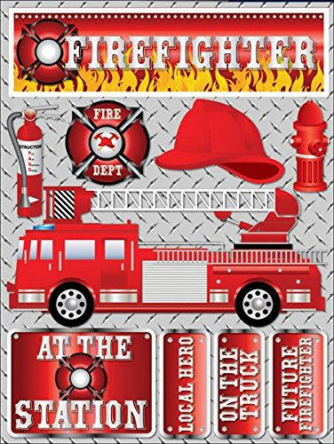 Reminisce Signature Series Dimensional Cardstock Stickers-Firefighter by Reminisce B005F5IDBS