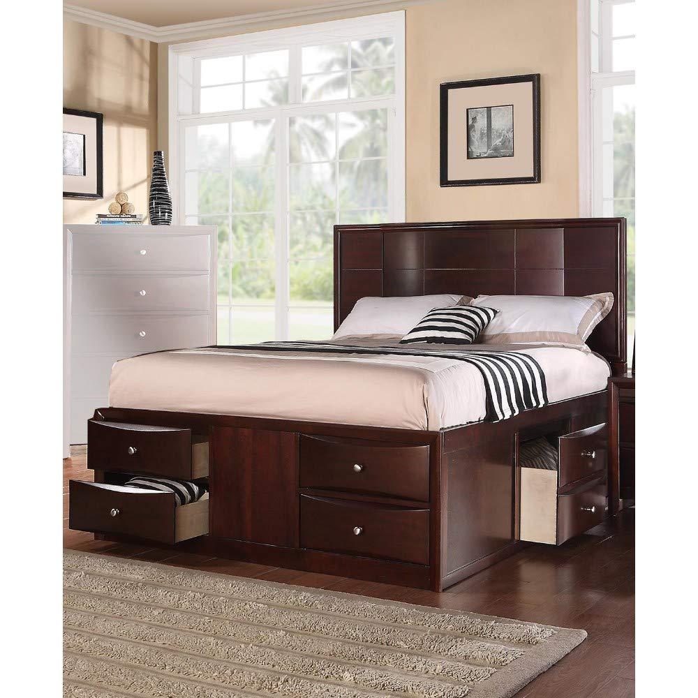 Amazon Com Benjara Benzara Commodious Queen Bed Drawers Brown