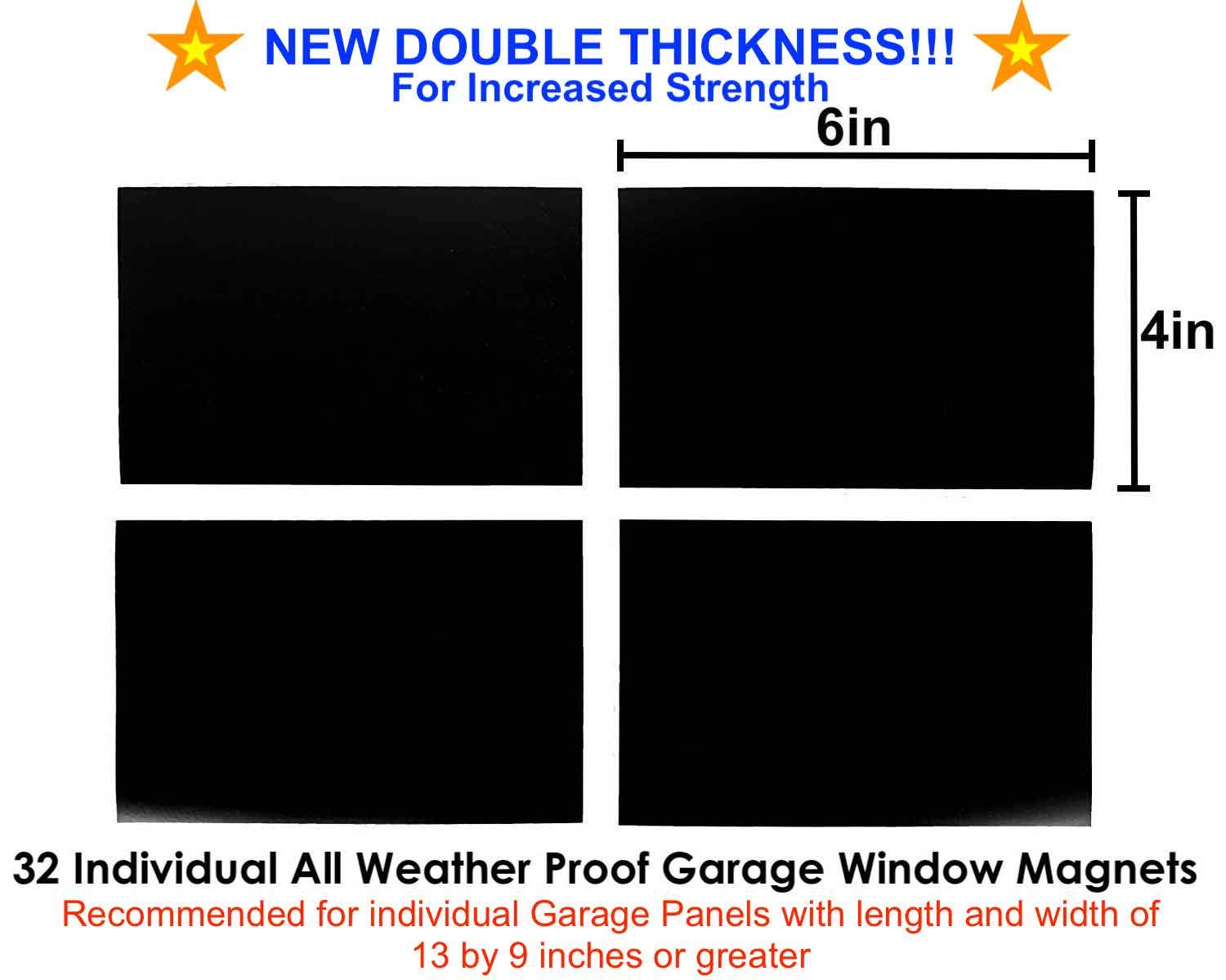 Magnetic Garage Door Windows Magnets Hardware Decorative Black Window Decals for Two Car Garage Now 2X Stronger Faux Windows 1 Car Garage Perfect for Decoration and Easy Installation