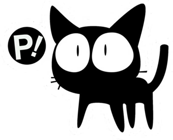 BLACK FLCL ANIME FOOLI COOLI P LOGO VINYL STICKERS SYMBOL 5.50 DECORATIVE DIE CUT DECAL FOR CARS TABLETS LAPTOPS SKATEBOARD