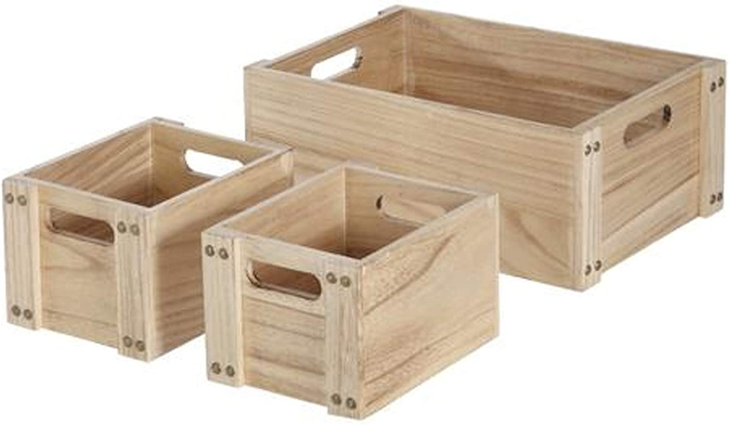 Wisechoice Durable Wooden Crate Rectangle Container Set Perfect for Storing Towels, Craft Tools and Toys, 3 Pieces