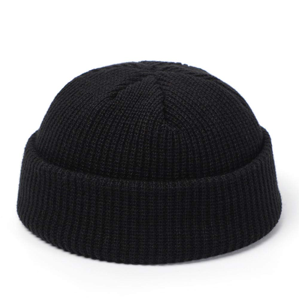 Sombreros de Punto Skullcap Hombres Beanie Hat Invierno Retro Sin Bordes Baggy Melon Cap Cuff Docker Fisherman Beanies Sombreros para Mujeres HombresC/álido Sombreros de