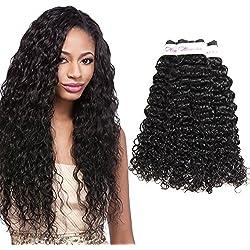 Miss CARA Hair 8A Grade Brazilian Water Wave Hair 3 Bundles Virgin Unprocessed Human Hair Wefts Hair Extensions Deal With Mixed Lengths 100% Human Hair Extensions(8 10 12)