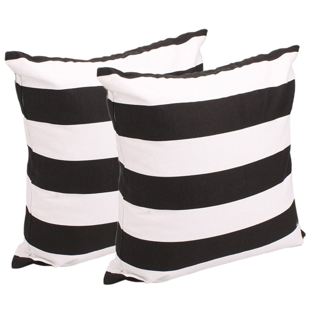 Set of 2, Soft Cotton Canvas Black White Stripe Pattern Pillowcase