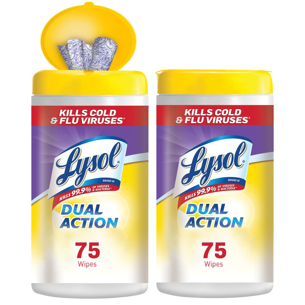 Lysol - Disinfecting Wipes - Dual Action - 2x75ct - Scrubbing Texture - Disinfectant - Cleaning - Sanitizing by Lysol (Image #1)