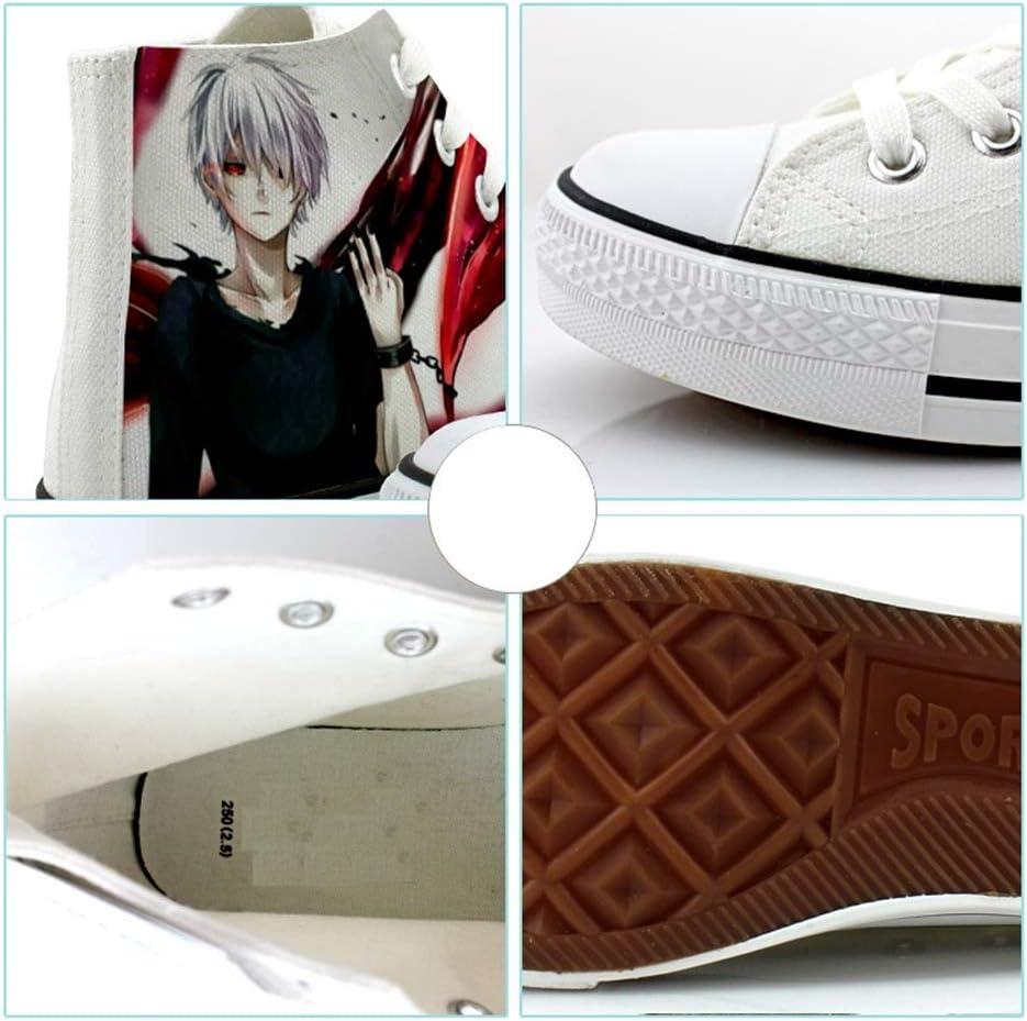 SHIQI-DYMX Anime Tokyo Ghoul Kinkiken niedrig geschnittene handbemalte Canvas-Schuhe Herrenschuhe Damenschuhe Anime Casual Simple Casual Classic C