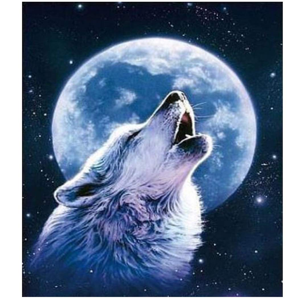 Fipart DIY diamond painting cross stitch craft kit. Wall stickers for living room decoration.Wolf(12X14inch/30X36CM)