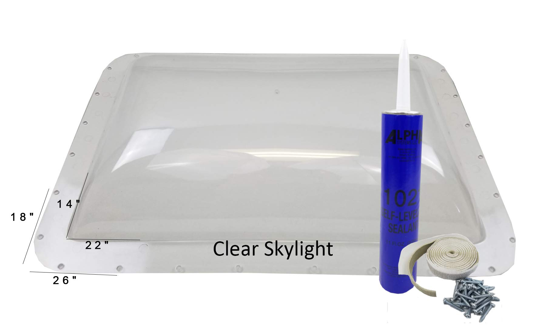 Class A Customs Premium Heavy Duty RV Camper Trailer Skylight - 18 x 26 OD / 14 x 22 ID Clear - Install Kit PCS by Class A Customs