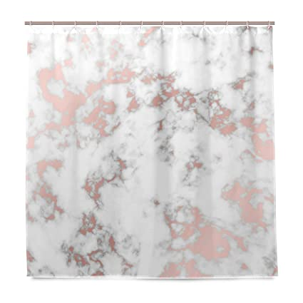ALAZA Rose Gold Marble Shower Curtain Waterproof Polyester Bath Curtian With Hooks 72x72 Inch
