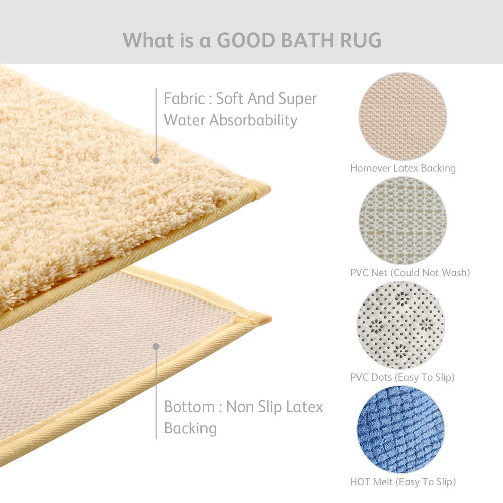 HOMEVER Luxury Microfiber Bathroom Rug Mat Extra Soft Bath Rugs Yellow Indoor Mat Machine Washable 21x34,Soft Shag Water Absorbent with Non-Slip Latex Backing Bathmat Extra Soft Bath Rugs Yellow Indoor Mat Machine Washable 21x34