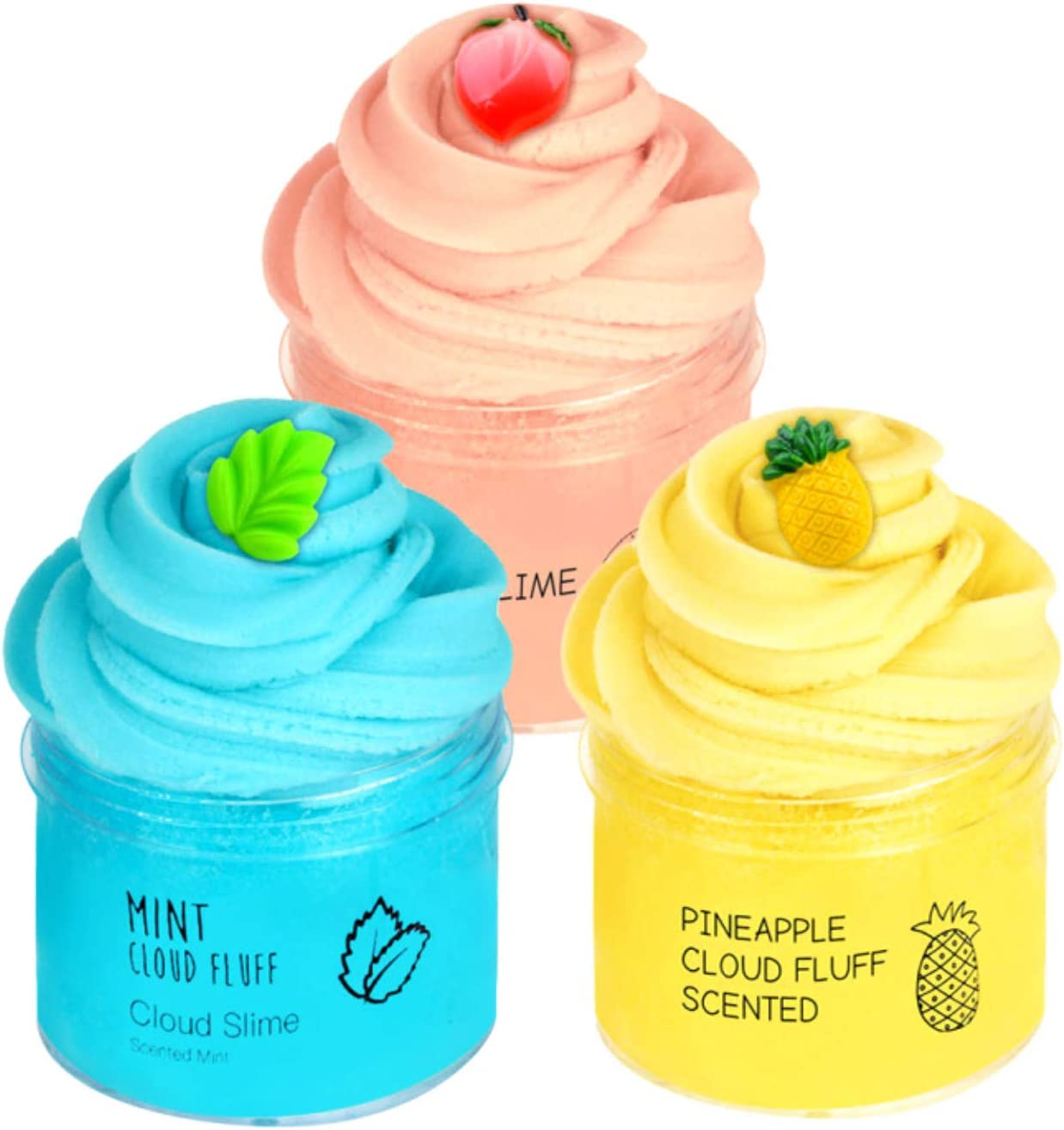 Consepcion 3pack Cloud Slime,with Mint Leaf Slime,Peach Slime,Watermelon Slime,Super Soft and Non-Sticky Slime for Boy and Girl