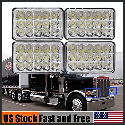"""4''x6"""" LED Headlights For Peterbilt 357 378 379 High/Low Sealed Beam Truck Headlamps 4 Pieces H4651 H4652 H4656 H4666 H6545 Replacement - 2 Year Warranty US Stock"""