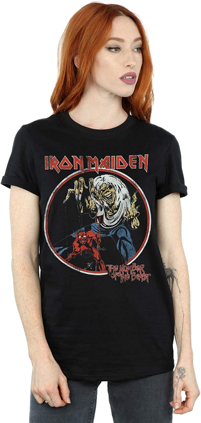 Absolute Cult Iron Maiden Mujer Number of The Beast Camiseta del Novio Fit: Amazon.es: Ropa y accesorios