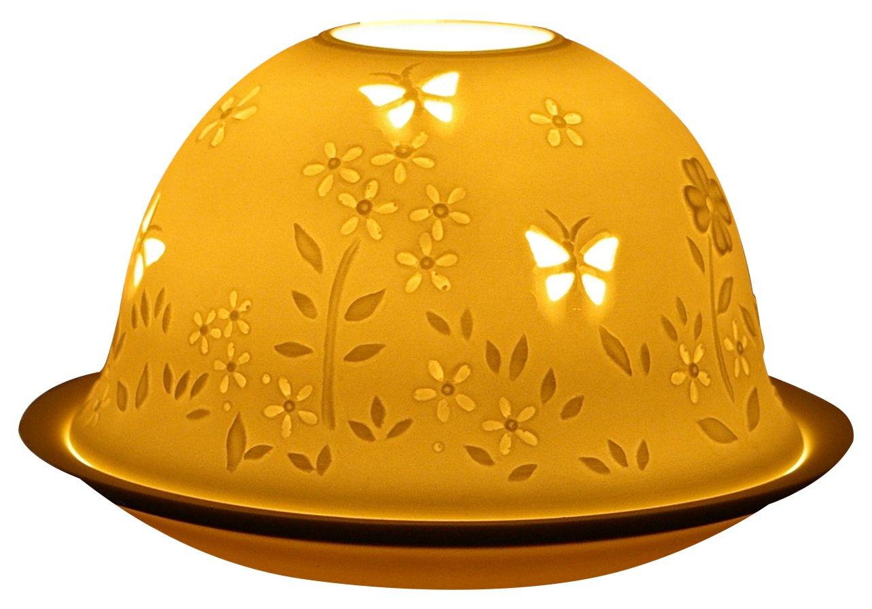 Ceramica 11x11x9 cm Him Dom Light Meadow in Springtime Portacandela Antivento Bianco