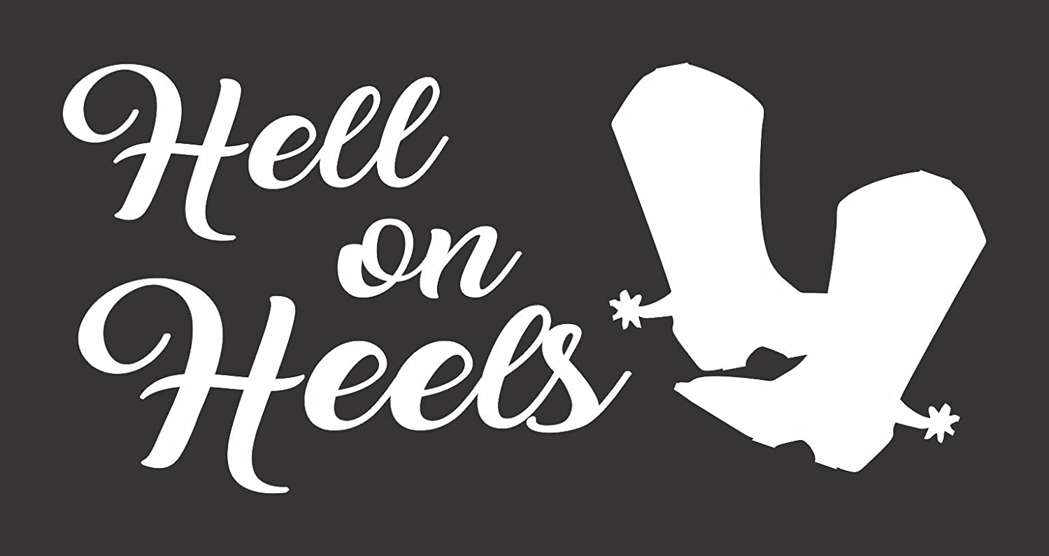 Hell on Heels Cowgirl Rodeo Die Cut Vinyl Window Decal//Sticker for Car//Truck