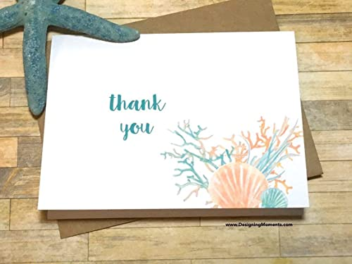 Beach Wedding Note Card Gift Set of 10 Starfish Thank You Card