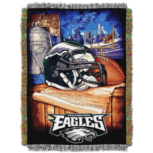 "Officially Licensed NFL Philadelphia Eagles Home Field Advantage Woven Tapestry Throw Blanket, forty eight"" x 60″ – DiZiSports Store"