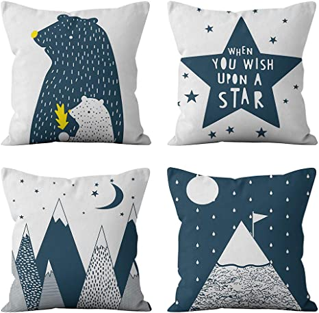 Heyhousenny Decorative Throw Pillow Covers 4 Packs Square Throw Pillow Covers For Chair Deco Indoor Outdoor 18 X 18 Inches Cartoon Beer Star Mountain Home Kitchen